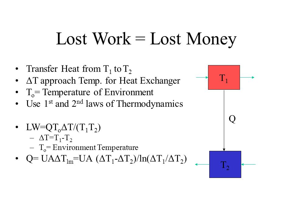 Lost Work = Lost Money Transfer Heat from T 1 to T 2 ΔT approach Temp. for Heat Exchanger T o = Temperature of Environment Use 1 st and 2 nd laws of T