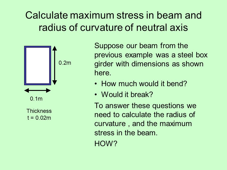Calculate maximum stress in beam and radius of curvature of neutral axis Suppose our beam from the previous example was a steel box girder with dimensions as shown here.