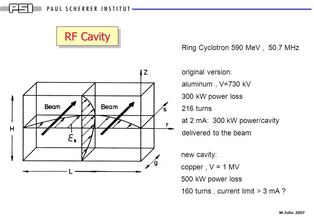 W.Joho 2007 RF Cavity Ring Cyclotron 590 MeV, 50.7 MHz original version: aluminum, V=730 kV 300 kW power loss 216 turns at 2 mA: 300 kW power/cavity d