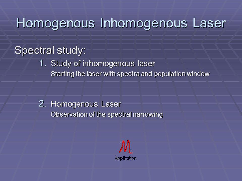Homogenous Inhomogenous Laser Spectral study: 1.