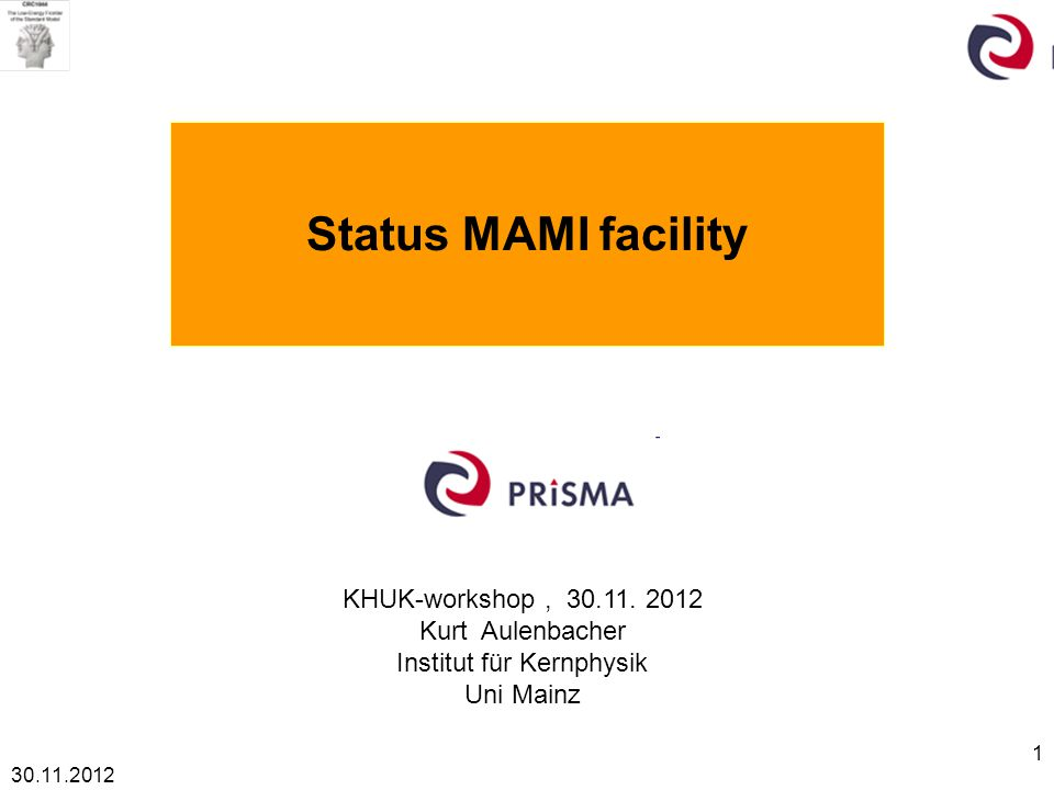 30.11.2012 2 Outline SFB 1044 and the operation of MAMI Prisma and erection of MESA