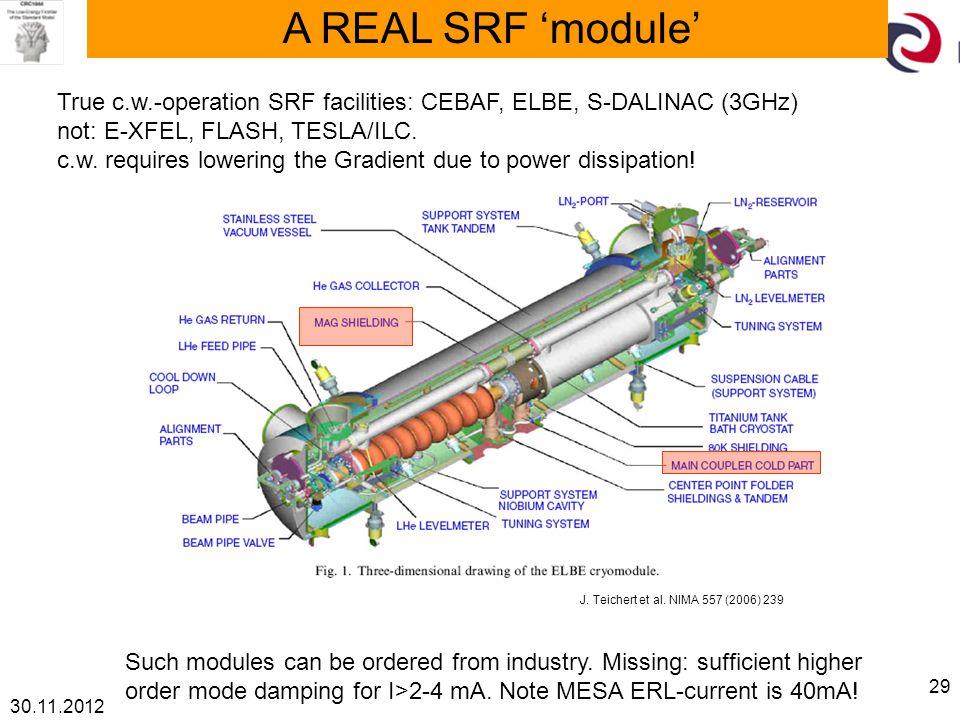 30.11.2012 29 A REAL SRF 'module' True c.w.-operation SRF facilities: CEBAF, ELBE, S-DALINAC (3GHz) not: E-XFEL, FLASH, TESLA/ILC.