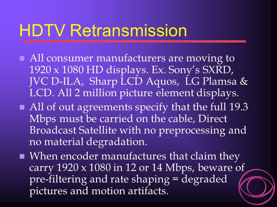 Satellite vs Cable vs Telco 30 MHz 27 MHz 24 MHz 21 MHz 18 MHz 15 MHz 12 MHz 9 MHz 6 MHz 3 MHz WCBS-DT Over-the-Air Signal 873 TV lines per Picture Height