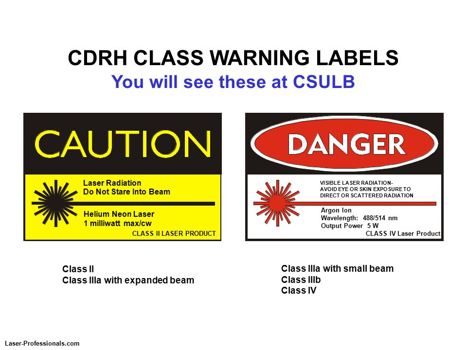 CDRH CLASS WARNING LABELS You will see these at CSULB CLASS II LASER PRODUCT Laser Radiation Do Not Stare Into Beam Helium Neon Laser 1 milliwatt max/cw CLASS IV Laser Product VISIBLE LASER RADIATION- AVOID EYE OR SKIN EXPOSURE TO DIRECT OR SCATTERED RADIATION Argon Ion Wavelength: 488/514 nm Output Power 5 W Class II Class IIIa with expanded beam Class IIIa with small beam Class IIIb Class IV Laser-Professionals.com