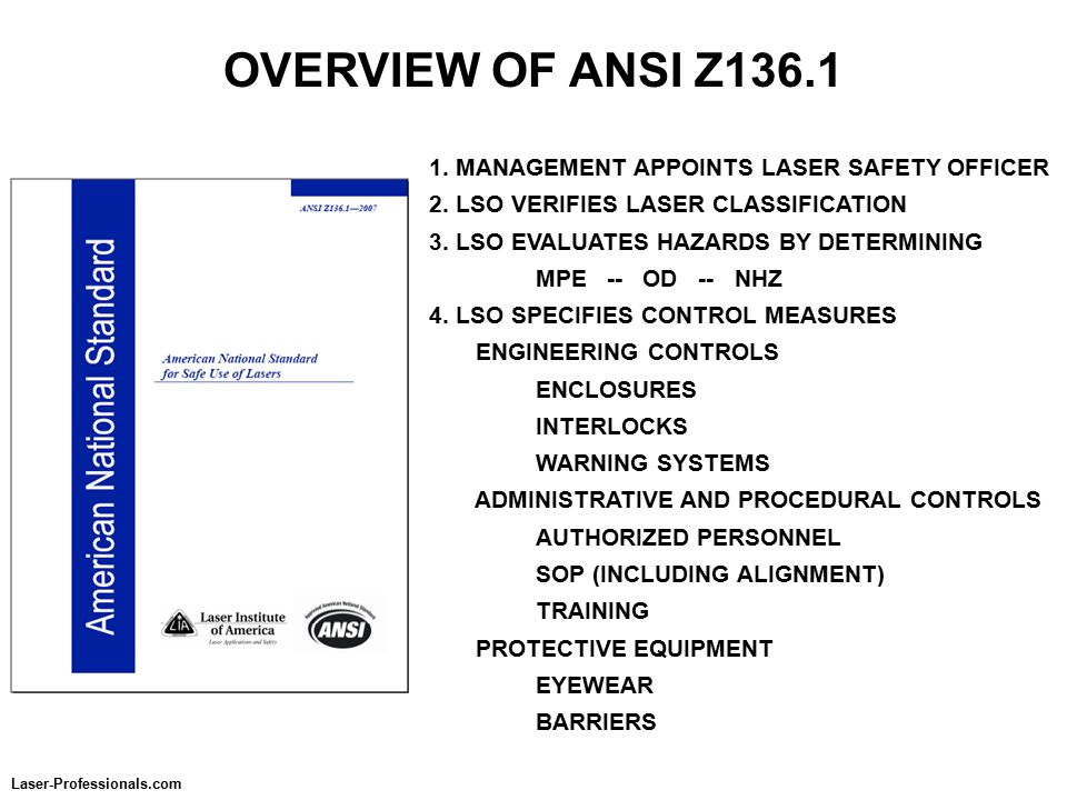OVERVIEW OF ANSI Z136.1 1. MANAGEMENT APPOINTS LASER SAFETY OFFICER 2.