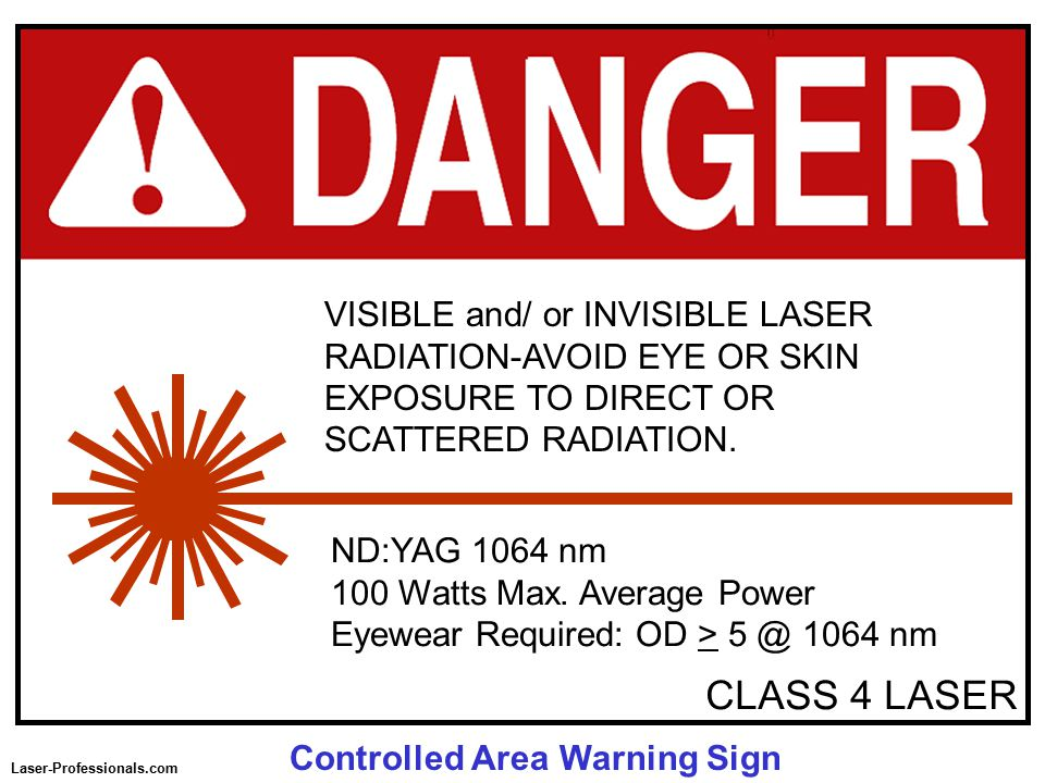 CLASS 4 LASER ND:YAG 1064 nm 100 Watts Max.