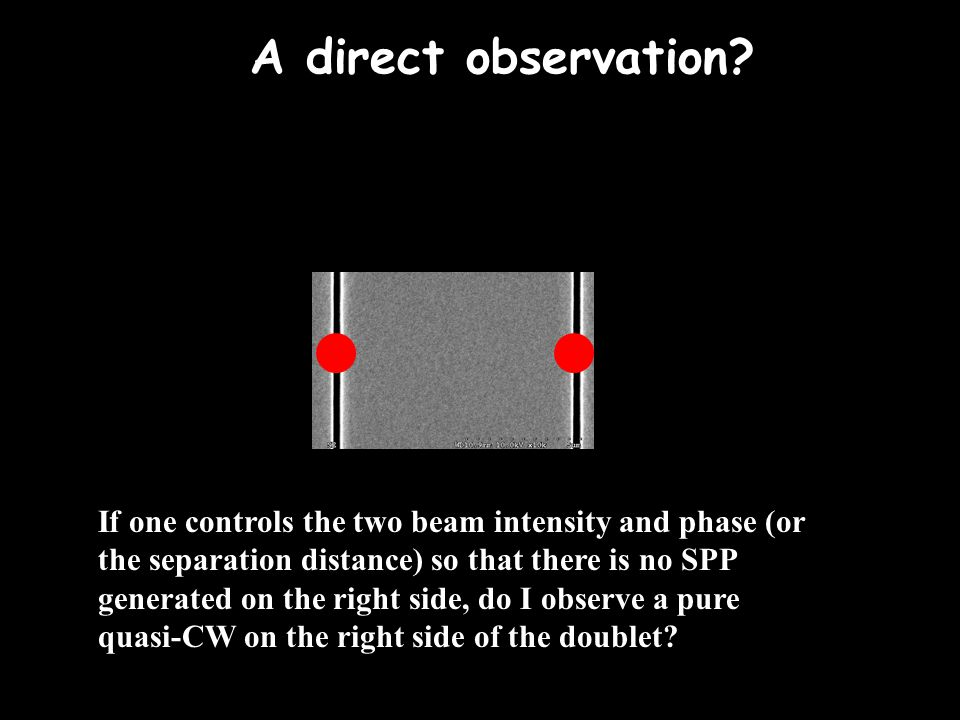 A direct observation? If one controls the two beam intensity and phase (or the separation distance) so that there is no SPP generated on the right sid