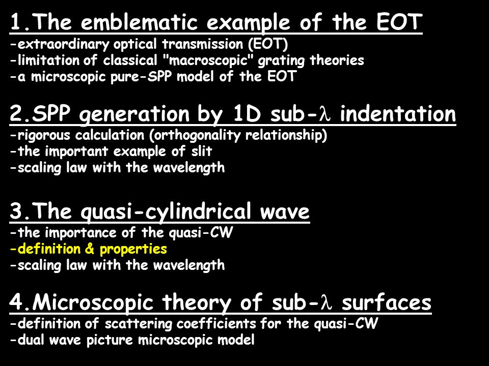 1.The emblematic example of the EOT -extraordinary optical transmission (EOT) -limitation of classical