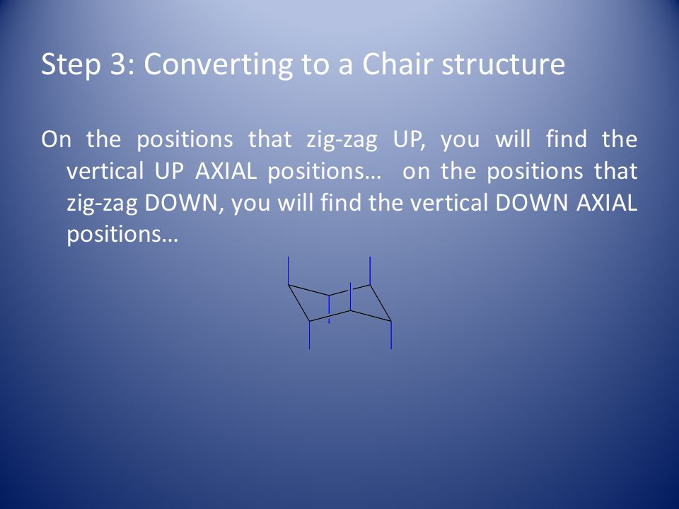 Step 3: Converting to a Chair structure On the positions that zig-zag UP, you will find the vertical UP AXIAL positions… on the positions that zig-zag DOWN, you will find the vertical DOWN AXIAL positions…