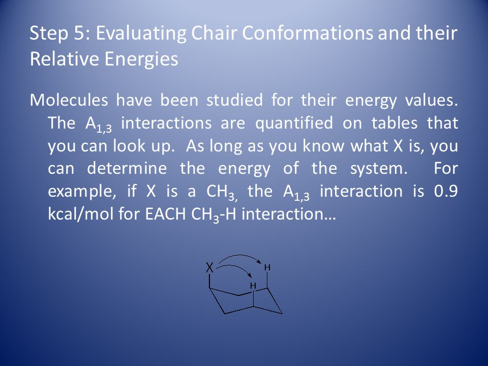 Step 5: Evaluating Chair Conformations and their Relative Energies Molecules have been studied for their energy values.