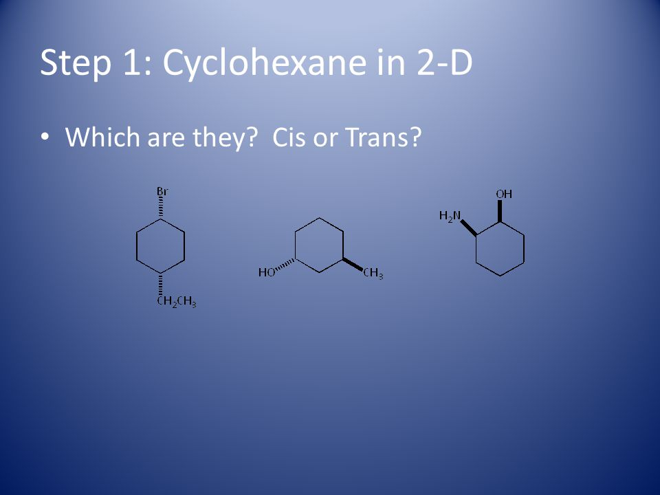 Step 1: Cyclohexane in 2-D How did you do?