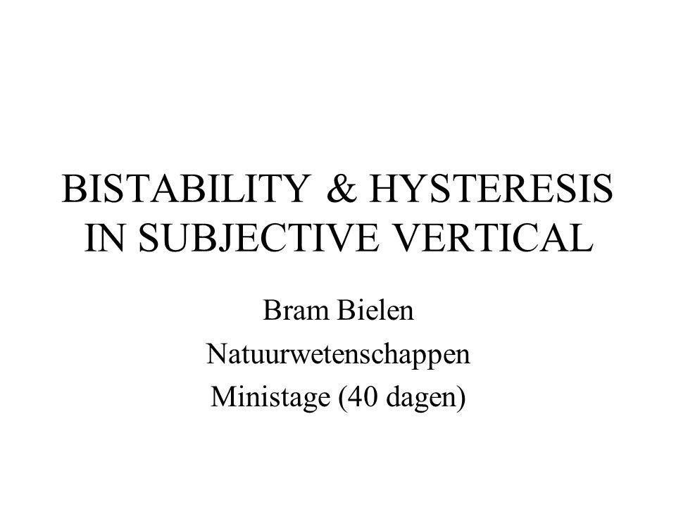 BISTABILITY & HYSTERESIS IN SUBJECTIVE VERTICAL Bram Bielen Natuurwetenschappen Ministage (40 dagen)