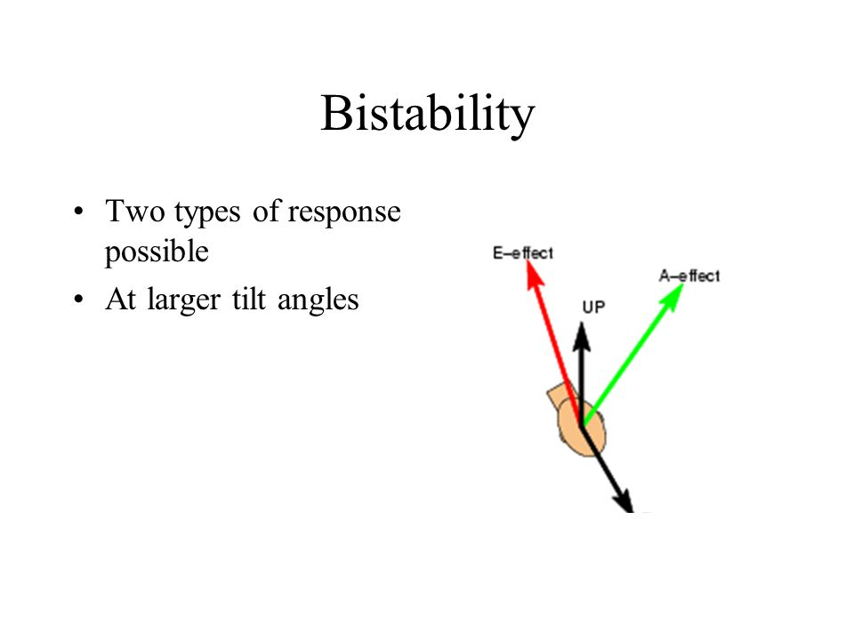 Two types of response possible At larger tilt angles