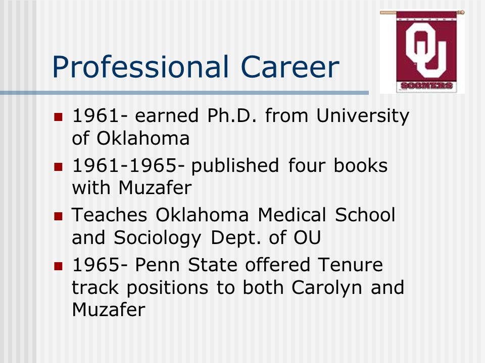 Professional Career 1961- earned Ph.D.