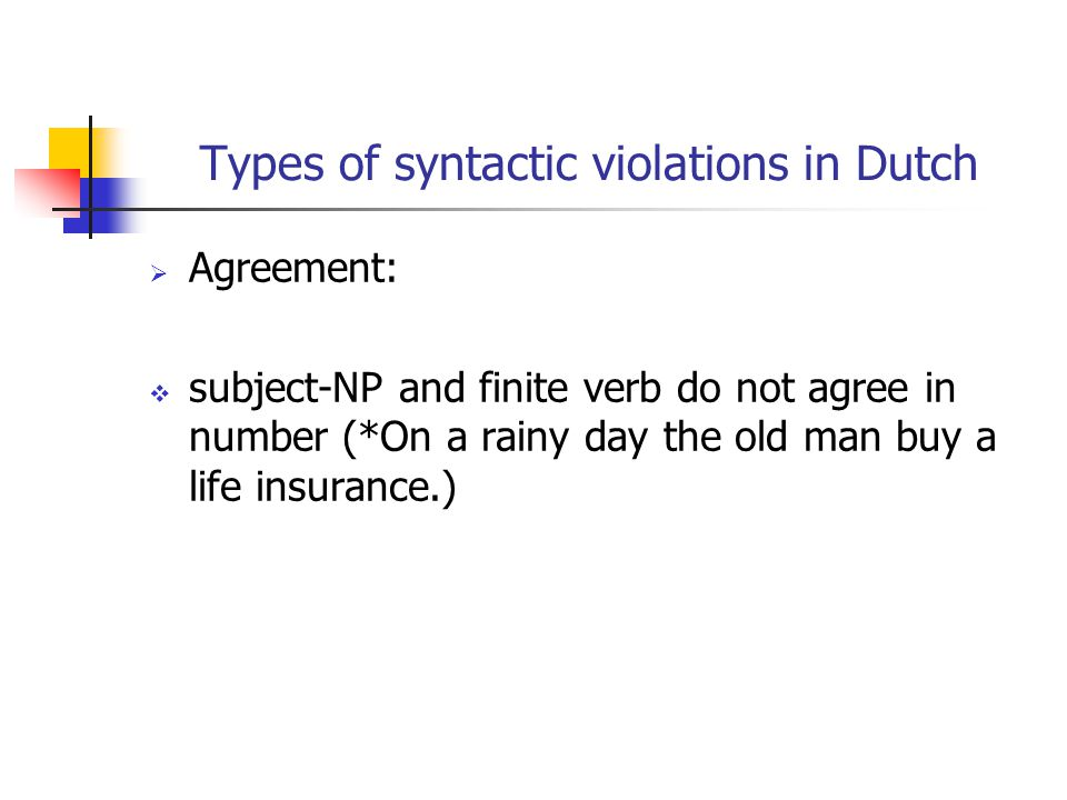 Types of syntactic violations in Dutch  Agreement:  subject-NP and finite verb do not agree in number (*On a rainy day the old man buy a life insurance.)