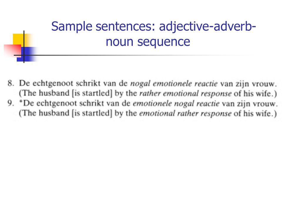 Sample sentences: adjective-adverb- noun sequence