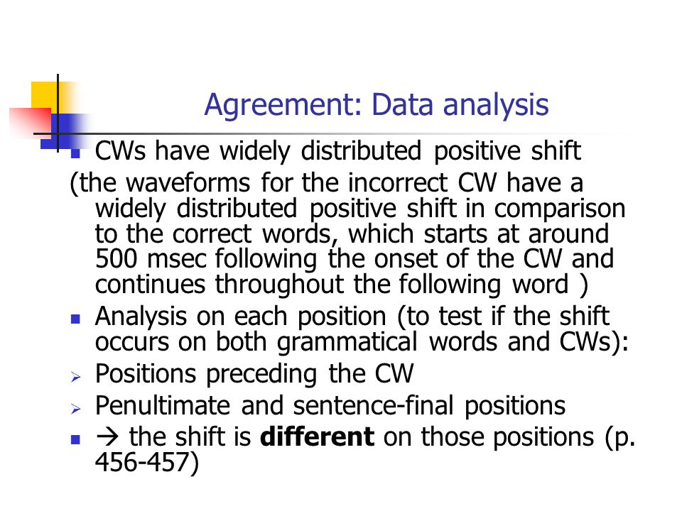 CWs have widely distributed positive shift (the waveforms for the incorrect CW have a widely distributed positive shift in comparison to the correct words, which starts at around 500 msec following the onset of the CW and continues throughout the following word ) Analysis on each position (to test if the shift occurs on both grammatical words and CWs):  Positions preceding the CW  Penultimate and sentence-final positions  the shift is different on those positions (p.