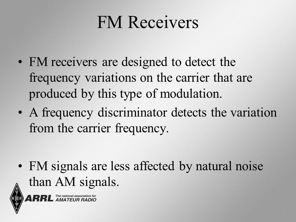 FM Receivers FM receivers are designed to detect the frequency variations on the carrier that are produced by this type of modulation.