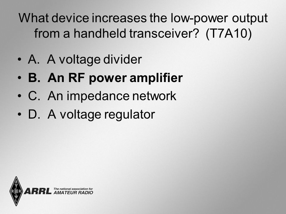 What device increases the low-power output from a handheld transceiver.