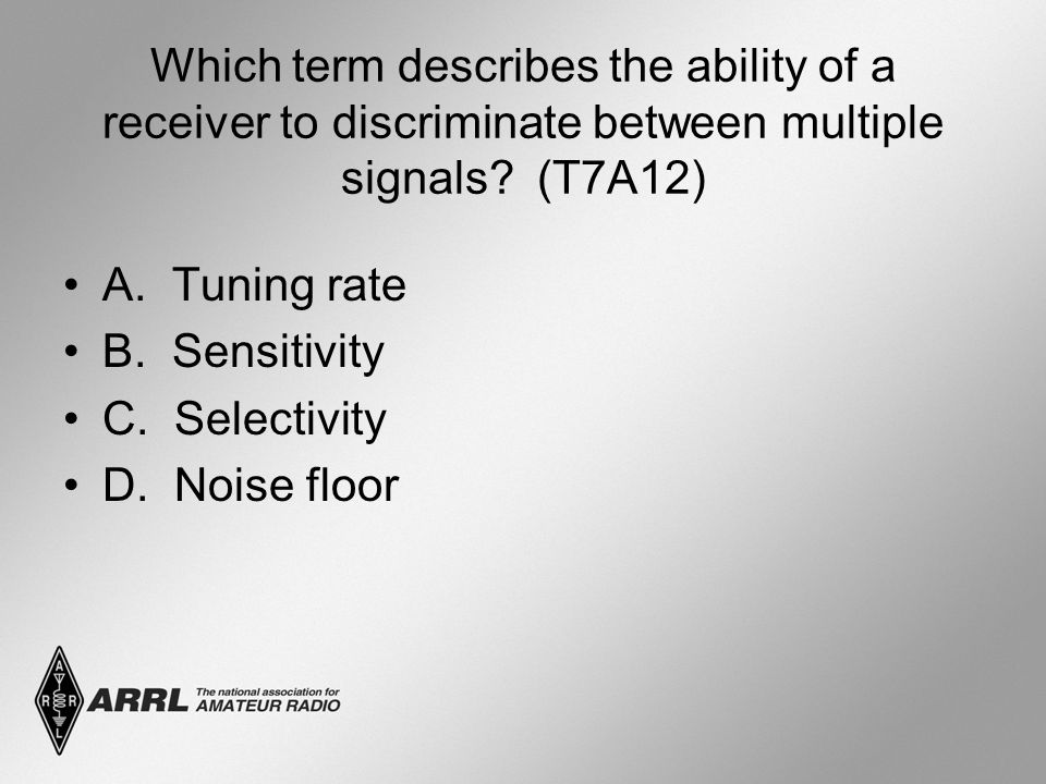Which term describes the ability of a receiver to discriminate between multiple signals.