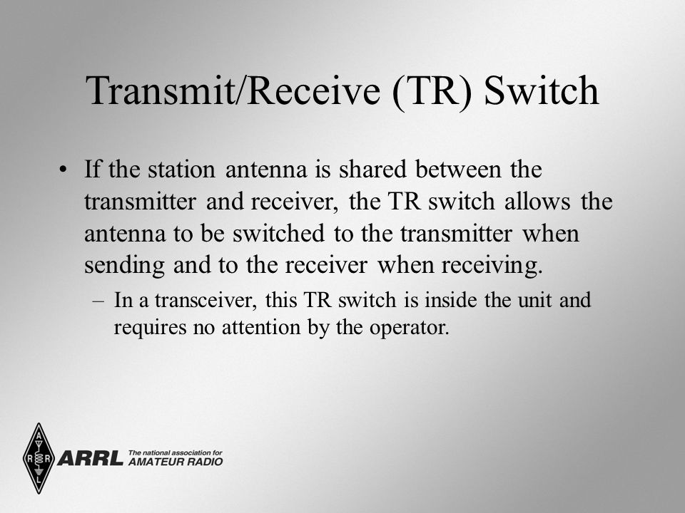 Transmit/Receive (TR) Switch If the station antenna is shared between the transmitter and receiver, the TR switch allows the antenna to be switched to the transmitter when sending and to the receiver when receiving.