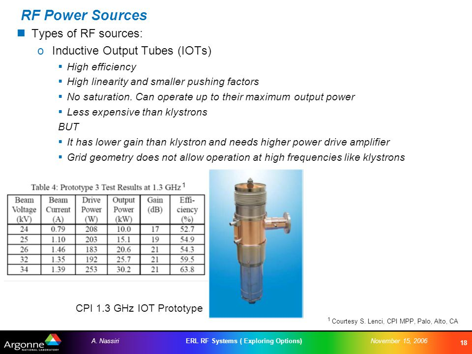 ERL RF Systems ( Exploring Options)A. NassiriNovember 15, 2006 18 RF Power Sources Types of RF sources: oInductive Output Tubes (IOTs)  High efficien