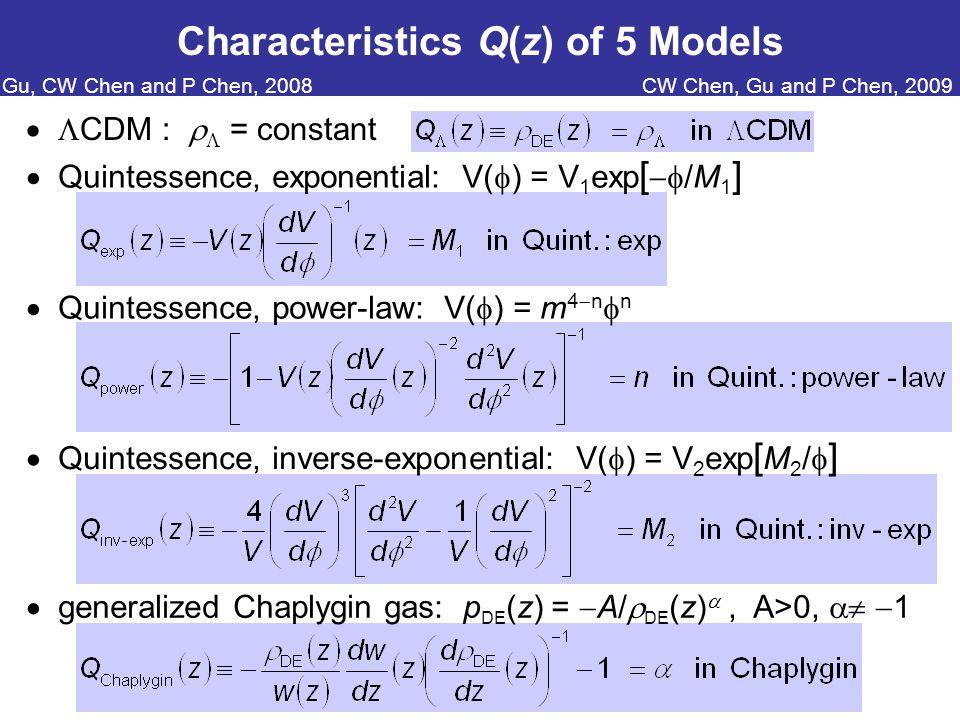 Characteristics Q(z) of 5 Models   CDM :   = constant  Quintessence, exponential: V(  ) = V 1 exp [  /M 1 ]  Quintessence, power-law: V(  ) = m 4  n  n  Quintessence, inverse-exponential: V(  ) = V 2 exp [ M 2 /  ]  generalized Chaplygin gas: p DE (z) =  A/  DE (z) , A>0,   1 CW Chen, Gu and P Chen, 2009Gu, CW Chen and P Chen, 2008