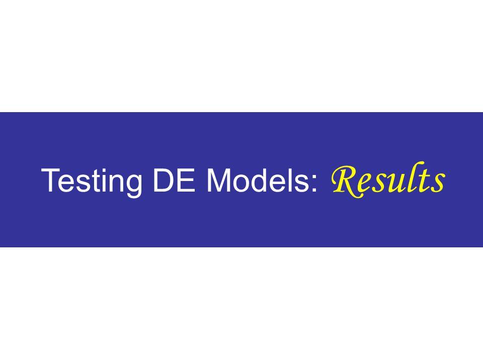 Testing DE Models: Results
