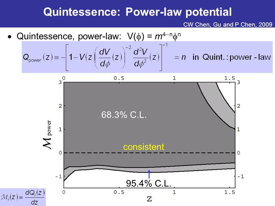 Quintessence: Power-law potential  Quintessence, power-law: V(  ) = m 4  n  n 95.4% C.L.