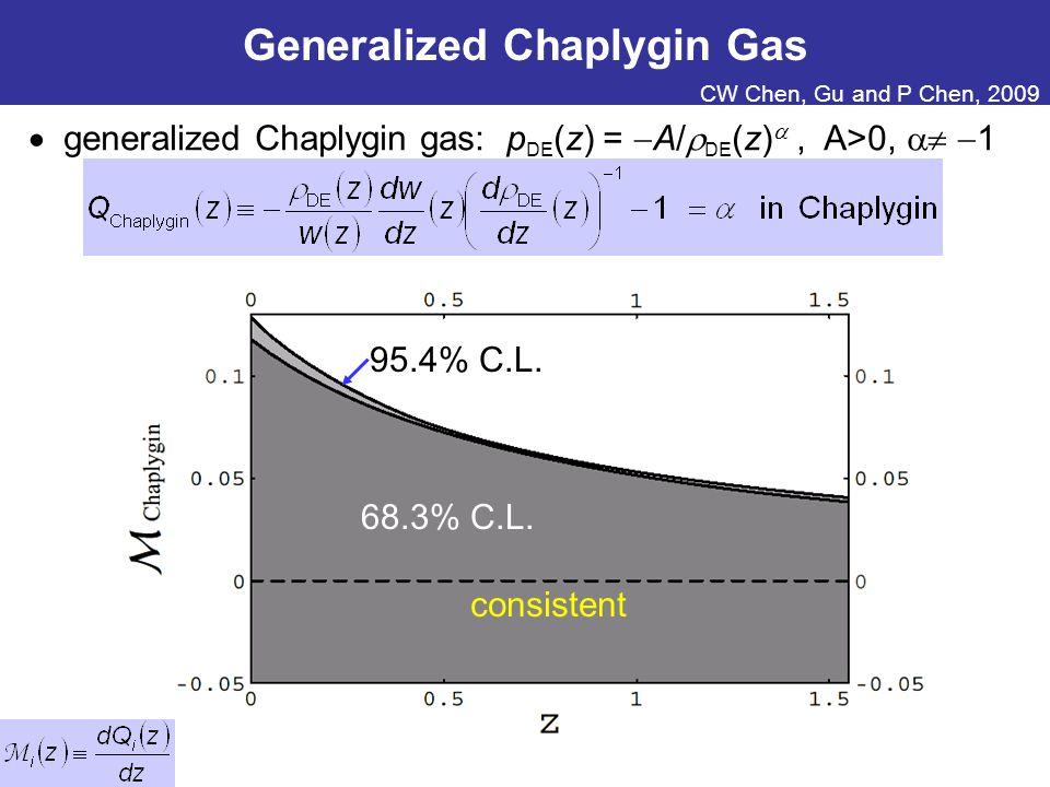 Generalized Chaplygin Gas  generalized Chaplygin gas: p DE (z) =  A/  DE (z) , A>0,   1 95.4% C.L.