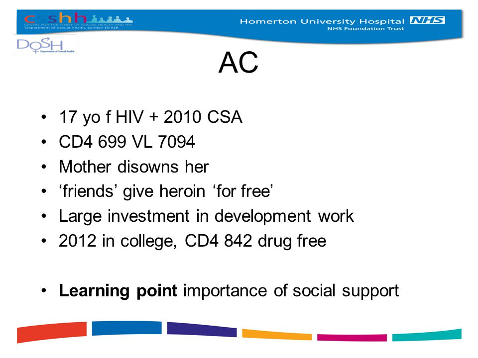 AC 17 yo f HIV + 2010 CSA CD4 699 VL 7094 Mother disowns her 'friends' give heroin 'for free' Large investment in development work 2012 in college, CD