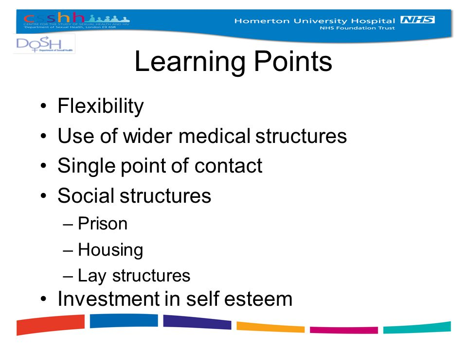 Learning Points Flexibility Use of wider medical structures Single point of contact Social structures –Prison –Housing –Lay structures Investment in s