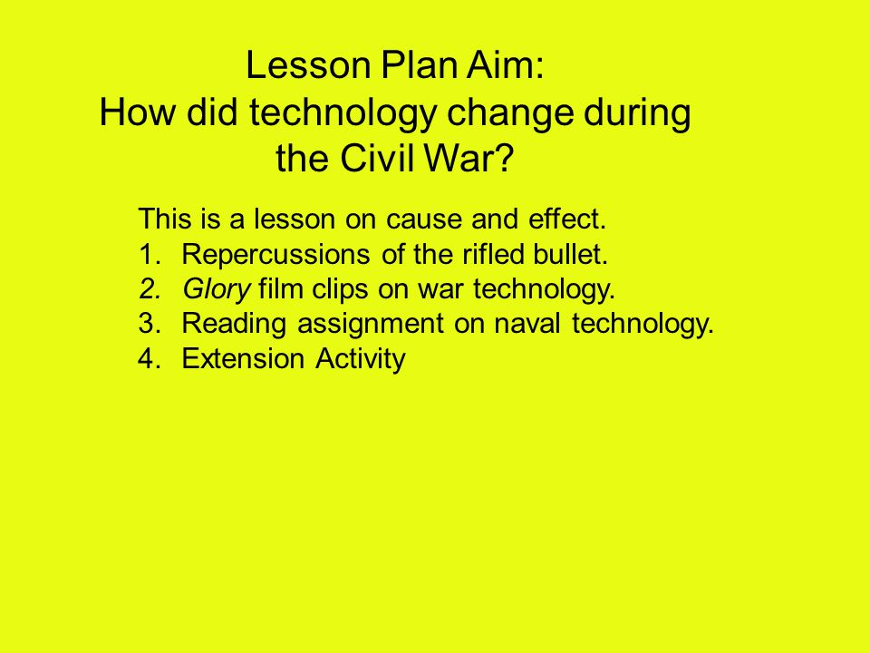Lesson Plan Aim: How did technology change during the Civil War.