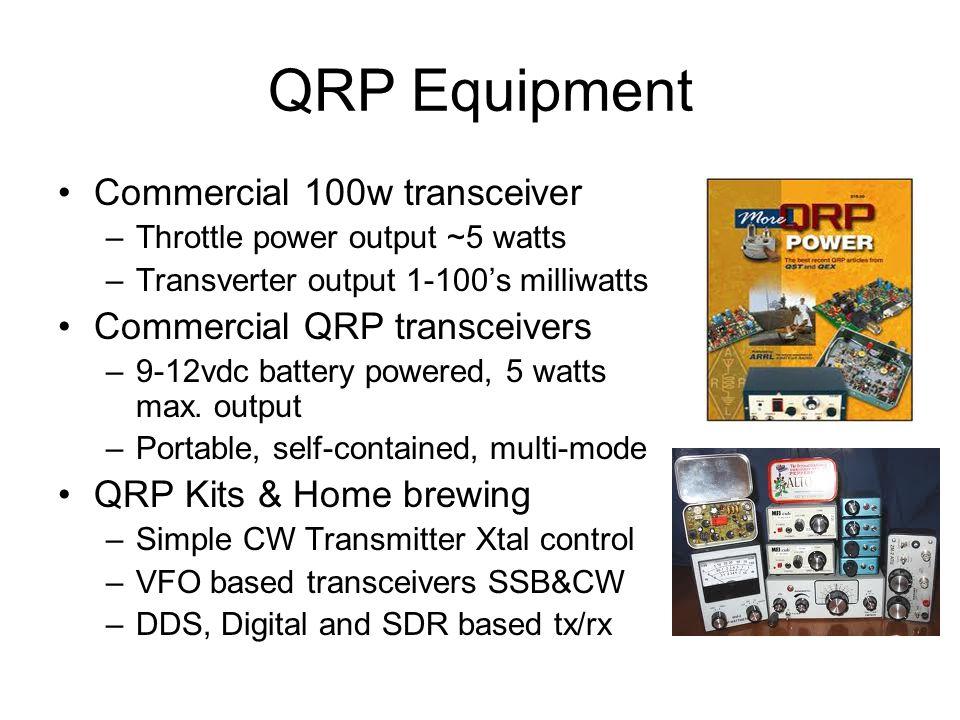 QRP Equipment Commercial 100w transceiver –Throttle power output ~5 watts –Transverter output 1-100's milliwatts Commercial QRP transceivers –9-12vdc battery powered, 5 watts max.