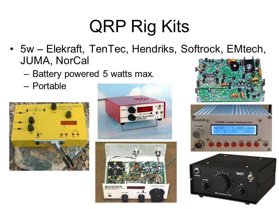 QRP Rig Kits 5w – Elekraft, TenTec, Hendriks, Softrock, EMtech, JUMA, NorCal –Battery powered 5 watts max.