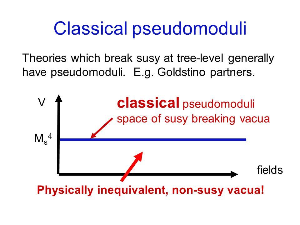 Vacua inequivalent E.g.O R model. Pseudomodulus X, classically massless.