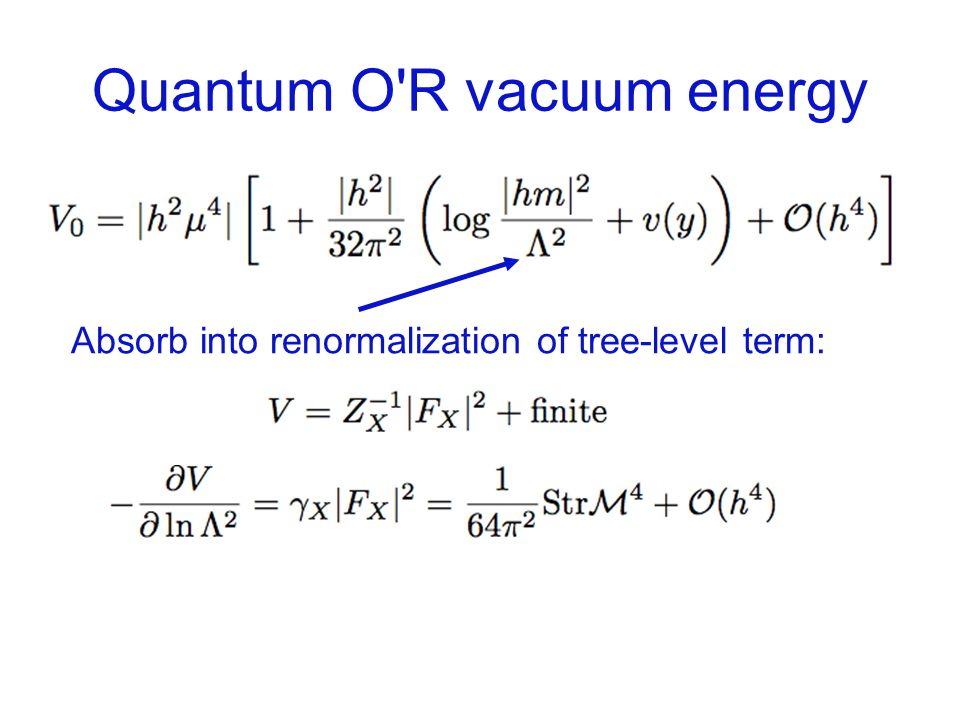 Quantum O R vacuum energy Absorb into renormalization of tree-level term: