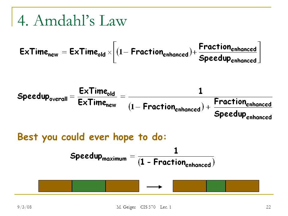 9/3/08 M. Geiger CIS 570 Lec. 1 22 4. Amdahl's Law Best you could ever hope to do: