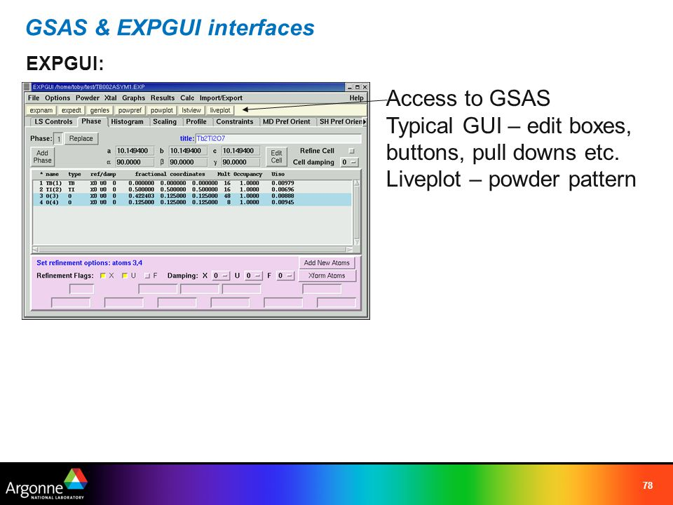 79 Unique EXPGUI features (not in GSAS) CIF input – read CIF files (not mmCIF) widplt/absplt coordinate export – various formats instrument parameter file creation/edit Gauss FWHM (instrument) Lorentz FWHM (sample) Sum widplt