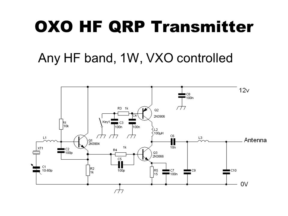 OXO HF QRP Transmitter Any HF band, 1W, VXO controlled