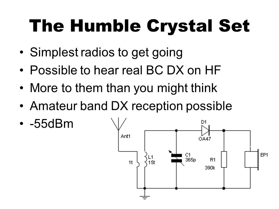 The Humble Crystal Set Simplest radios to get going Possible to hear real BC DX on HF More to them than you might think Amateur band DX reception poss
