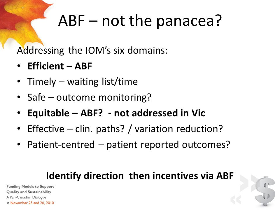 ABF – not the panacea.