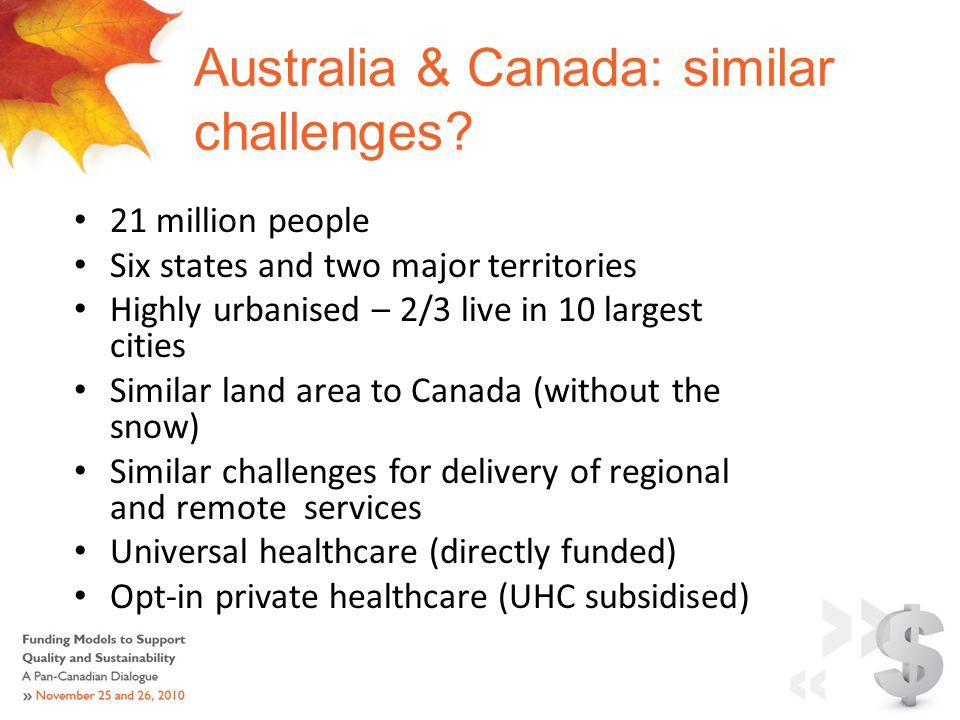 Australia & Canada: similar challenges.
