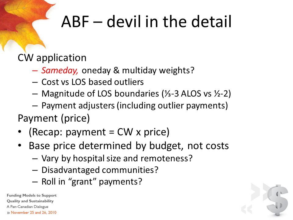 ABF – devil in the detail CW application – Sameday, oneday & multiday weights.