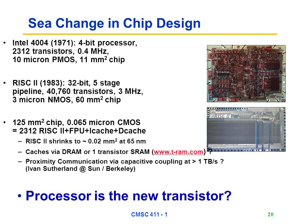 CMSC 411 - 1 20 Sea Change in Chip Design Intel 4004 (1971): 4-bit processor, 2312 transistors, 0.4 MHz, 10 micron PMOS, 11 mm 2 chip Processor is the new transistor.