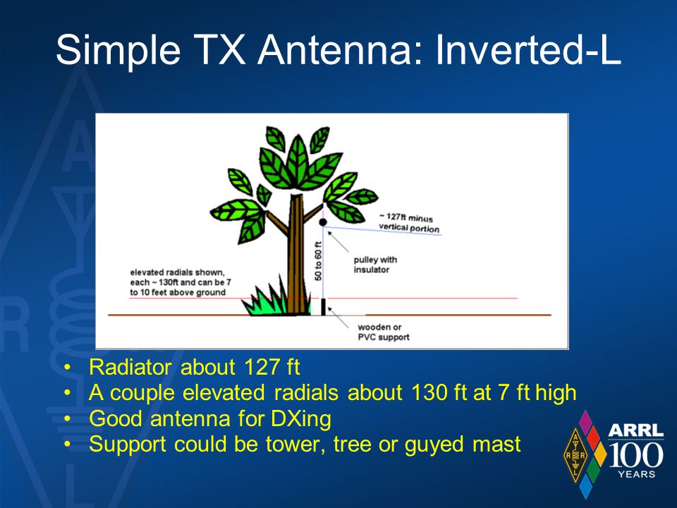 Simple TX Antenna: Inverted-L Radiator about 127 ft A couple elevated radials about 130 ft at 7 ft high Good antenna for DXing Support could be tower, tree or guyed mast