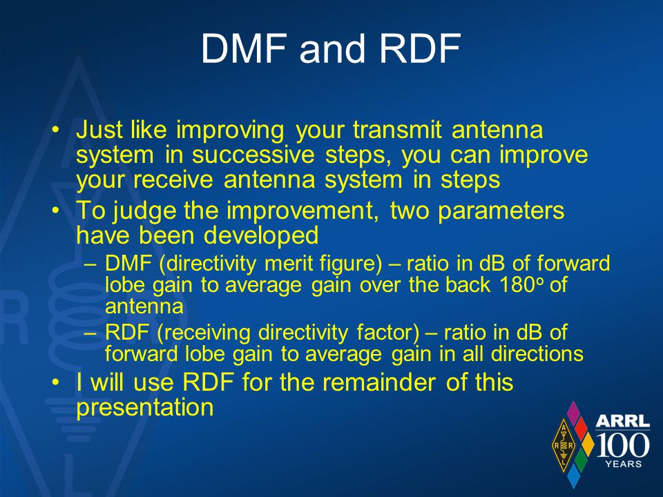 DMF and RDF Just like improving your transmit antenna system in successive steps, you can improve your receive antenna system in steps To judge the im