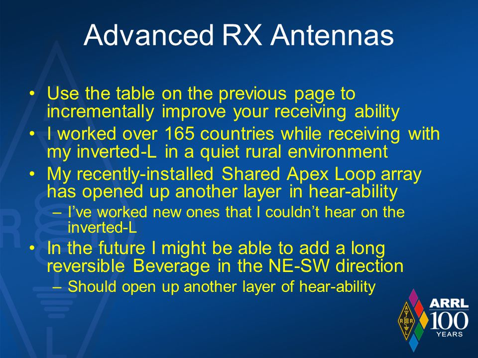 Advanced RX Antennas Use the table on the previous page to incrementally improve your receiving ability I worked over 165 countries while receiving wi