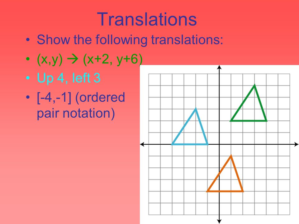 Translations Show the following translations: (x,y)  (x+2, y+6) Up 4, left 3 [-4,-1] (ordered pair notation)