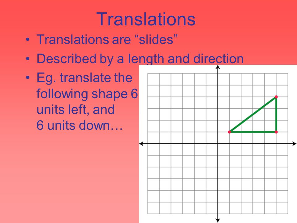 "Translations Translations are ""slides"" Described by a length and direction Eg. translate the following shape 6 units left, and 6 units down…"